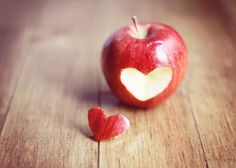 Kitchen Art Food Red Apple heart 5x7 Fine Art by MarianneLoMonaco, $15.00