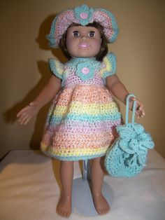 Items similar to Day At The Beach - 18 inch Doll 5 pce outfit on Etsy 18 Inch Doll, 18th, Crochet Hats, Dolls, Day, Beach, Outfits, Fashion, Knitting Hats