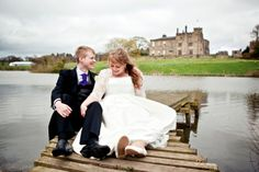 Beautiful, fun and quirky bride & groom portrait on a pier by a lake! UK Weddings  Agnes Photography & Film www.agnesphotoandfilm.co.uk