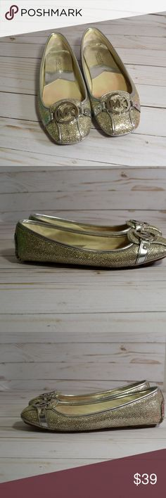 Michael Kors Fulton  Glitter Flats Shoes Lightly used but in great condition.   From MICHAEL Michael Knors, the Fulton moccasin flats feature:      Glitter fabric upper with signature MK logo charm hardware     Slip on styling     Lightly padded synthetic performance insole     Rubber outsole Michael Kors Shoes Flats & Loafers