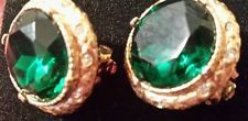 VINTAGE GREEN Clip On EARRINGS RUNWAY HAUTE COUTURE!! GREEN RHINESTONE GOLD TONE