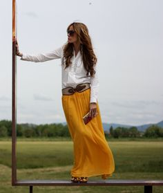 tailored shirt, maxi skirt, belt...boho style perfect for the beach or a field of flowers