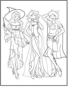 Totally Spies Wearing Halloween Costume coloring picture for kids