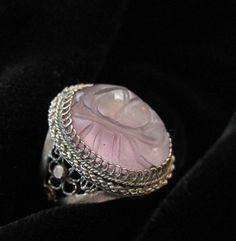 Chinese Filigree Purple Jadeite or Amethyst Ring LOTUS by Elsewind