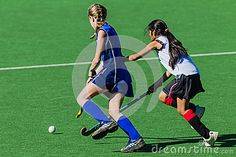 Teenage girls challenge for ball in school fixture game on astro turf . Game played at St Marys high school in Kloof against Crawford college from Durban North Astro Turf, Hockey Girls, High School, Challenges, College, Running, Game, Female, Sports