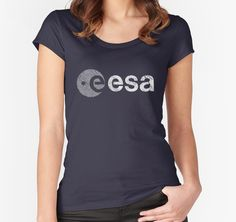 """European Space Agency Emblem Vintage White"" Women's Fitted Scoop T-Shirts by Lidra 