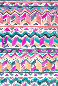 Daily Color #136: Heat Wave Aztec Tribal Patterns, Ethnic Patterns, Textile Patterns, Textile Design, Print Patterns, Watercolor Pattern, Watercolor Art, Creative Textiles, Native American Design