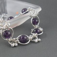 Amethyst Sterling Silver Chainmaille Bracelet by PuranaJewellery, £45.00