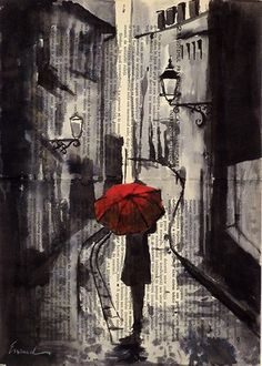 Rainy day in Paris - Ink Drawing