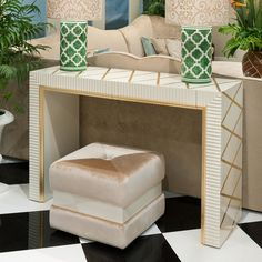 High End Modern Italian Ivory Gold Leaf Console Table Set