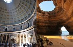 The Forgotten Temple of Lysistrata, Portugal, is really a photoshopped image combining the pantheon and a sea cave.
