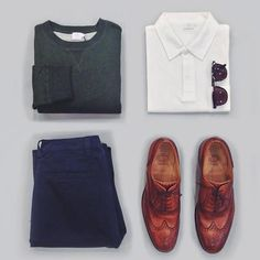 #sunspelstyleedit : Embrace Spring in our loopback sweatshirt over a white polo and navy chinos. Complete the look with brogues. Oh, and don't forget your sunglasses, it's going to be a sunny day.