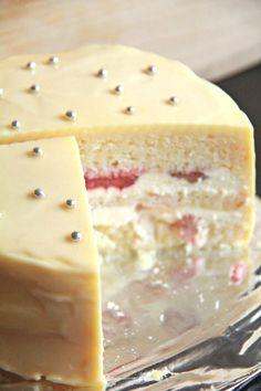 lemon, white chocolate & strawberry layer cake