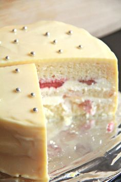 lemon, white chocolate & strawberry layer cake
