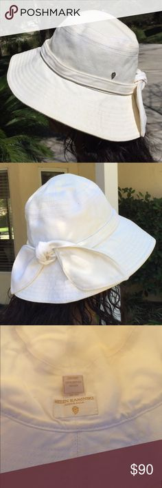 "Helen Kaminski Fabric Hat Tie Bow Ivory SM/Med Has makeup on the inside from my forehead. Model is 5'2"" with a small noggin (she has a little room) and its too snug on my head (mostly hair 💁🏻) Have it professionally cleaned or spot clean it. UPF 50- Helen Kaminski Accessories Hats"