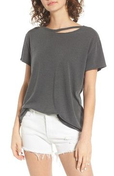 Black medium. Free shipping and returns on BP. Cutout Neck Tee at Nordstrom.com. A ripped-open neckline adds a sense of undone edge to this well-worn tee cut from a supersoft blend of cotton and modal that drapes beautifully.