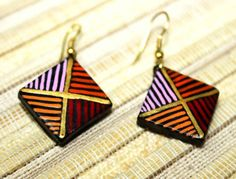Shopo.in : Buy Handcrafted Square Shaped Multicolor Hand Painted Earring online at best price in New Delhi, India