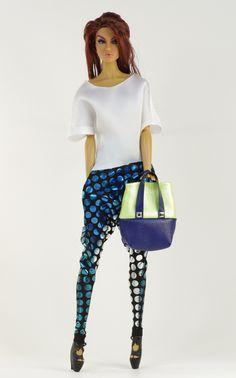 (nu.face body) inc. blouse, pants, shoes, purse.