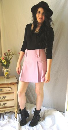 SUPER CUTE!!! I was so tempted to keep this for myself. 1960s mod style lavender mini skirt with pleats and buttons. Buttons and zipper are
