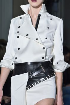 Asymmetrical suit with leather accents & eyelets; fashion details // Anthony Vaccarello Fall 2013