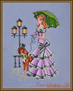 Who likes a walk after warm summer rain?  Rainy Day Stroll is the new design! She's up on the website http://www.crossstitchingart.com/index.php?l=product_detail=42
