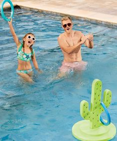 Our exclusive Cactus Ring Toss takes the classic ring-toss game and updates it with an all-new twist. Designed for in-pool competition, the floating cactus becomes a moving target as you try to hook it with the three rings.