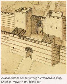 .Drawing of Theodosian walls, Constantinople