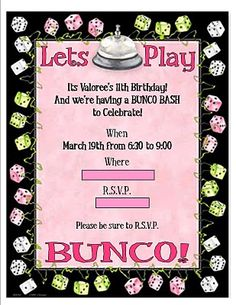 Bunco Party Invite Girls Night Out Things I Ve Made