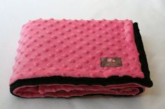 Minky Blanket Bubble gum Pink and Black  35 x 30 by Essiedesigns, $26.99