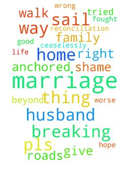 breaking of wrong roads of my husband and marriage reconciliation -  The adversary has tried breaking my sprit and faith in Lord Jesus, it has stolen all my things and my marriage, my life is broken in all ways, marriage is at its worse, the shame its carrying as i had fought in home for this man, my job, my husbands behaviour toward our marriage and me, my dreams of home, child and walk with God as a family, all are shattered ... brother God is maker and all that He makes is Good and way…