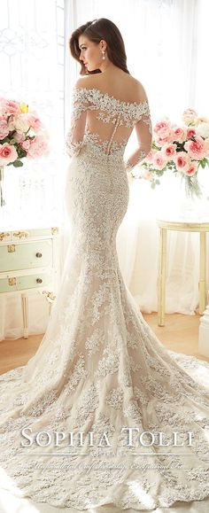 sophia tolli spring 2016 lace wedding dresses with illusion back Y11632