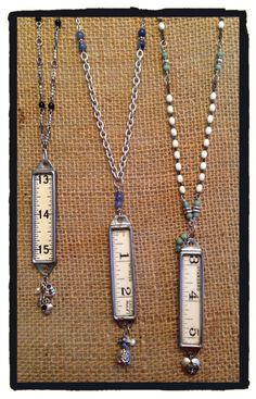 Vintage wood rulers with charms. By LjBlock Designs