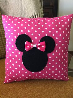 Minnie Mouse Pillow and Polka Dot by WOOLYPRIMITIVES on Etsy