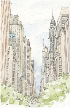 New York City Watercolor by sketchmodern on Etsy