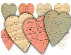Vintage Ephemera Valentines Heart Tags Digital by vintagebyme, $4.20