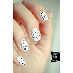 Cute black and white polka dots nails ❤ liked on Polyvore featuring beauty products and nail care