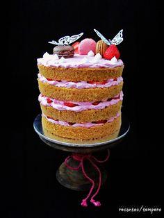 Imagem Naked Cake, Strawberry, Desserts, Food, Spices, Dessert, Serving Dishes, Sponge Cake, Whipped Cream