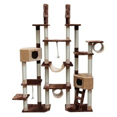 """Kitty Mansions 75-92"""" Rome Cat Tree in Brown and Beige for in front of windows cat heaven. #cats #CatTree #$193.61 with free shipping!"""