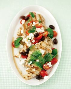 When 15 minutes is all you have, saute a quick-cooking cut, like thin chicken cutlets, and top it with a fresh, Greek-flavored mix of feta, olives, tomatoes, and mint.