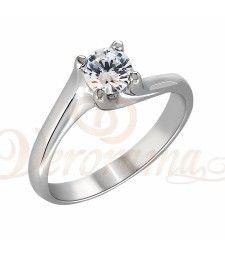 Μονόπετρo δαχτυλίδι Κ18 λευκόχρυσο με διαμάντι κοπής brilliant - MBR_051