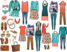 """Turquoise, coral & brown"" by susanmcu on Polyvore"
