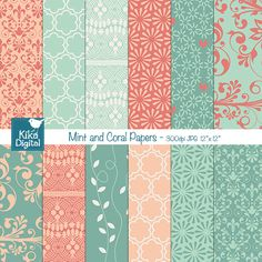 This Mint and Coral Digital Papers pack includes 12 lacy and romantic wedding digital scrapbook papers in high resolution. This Mint Wedding papers set is suitable for scrapbook, card design, invitation making, stickers, jewelry, paper crafts, web design, and a lot more.