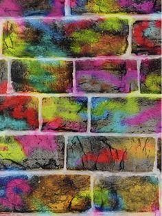kids & teens 11 galerie wallpaper - graffiti stained brick wallpaper! Great for teens! #homedecor #brickeffect #graffiti #teensroom #teendecor