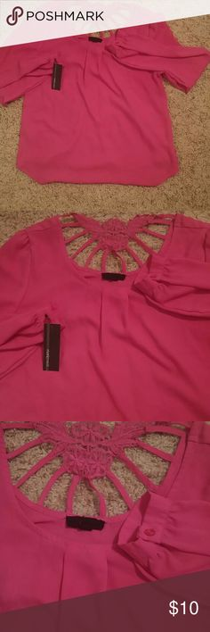 Pink shear blouse brand new w/tags Pink shea blouse brand new with tags never worn size L has back design. mariemeili Tops Blouses