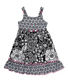 Another great find on #zulily! Black & White Floral A-Line Dress - Toddler & Girls #zulilyfinds