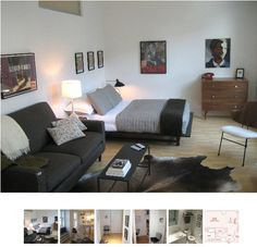 studio apartment furniture layout.