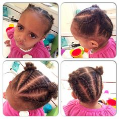 Charlotte's hair, African American girl's hair, natural styles, cornrows.  Four cornrows in front and four in back meeting at two puffs.  Short kinky-curly hairstyle.