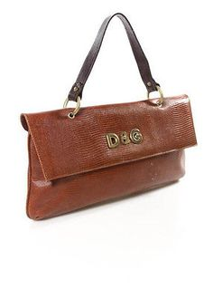 5860f8f0d5 D-G-DOLCE-GABBANA-Brown-Lizard-Skin-Large-Baguette-Clutch-Shoulder-Handbag