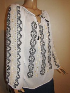Hand embroidered Romanian peasant blouse - Black wheat / size M - L, hand stitched Romanian ethnic top Peasant Blouse, Kimono Top, Black Blouse, Hand Stitching, Ethnic, Bohemian, Costume, Embroidery, Romania