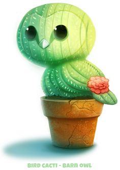 Daily Paint Bird Cacti - Barn Owl by Cryptid-Creations on DeviantArt Cute Food Drawings, Cute Animal Drawings, Kawaii Drawings, Horse Drawings, Cute Creatures, Fantasy Creatures, Animal Puns, Animal Food, Kawaii Art